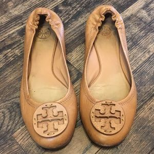 "Tory Burch Brown Leather ""Chelsea"" Flats Size 9.5"